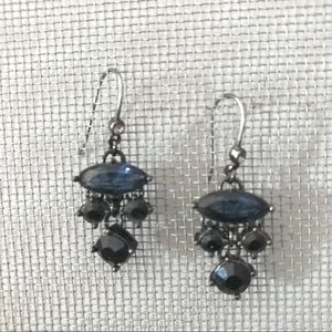 Jewelry - Silver earrings with blue, black and clear stones